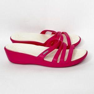 CROCS Rhonda Pink Strappy Slide Wedge Sandals